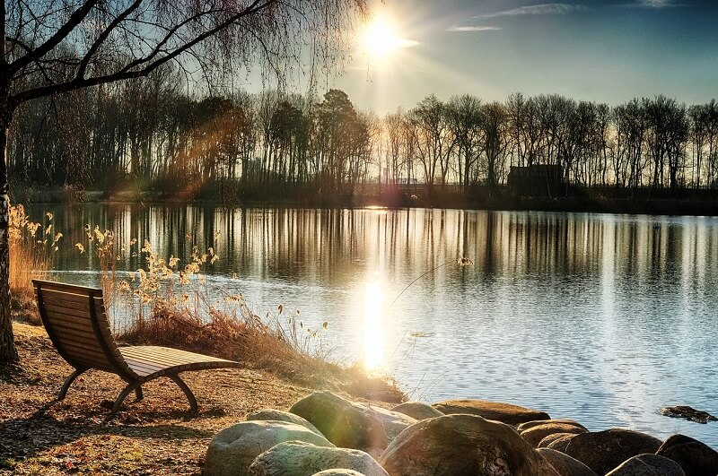 Un transat jardin près d'un lac